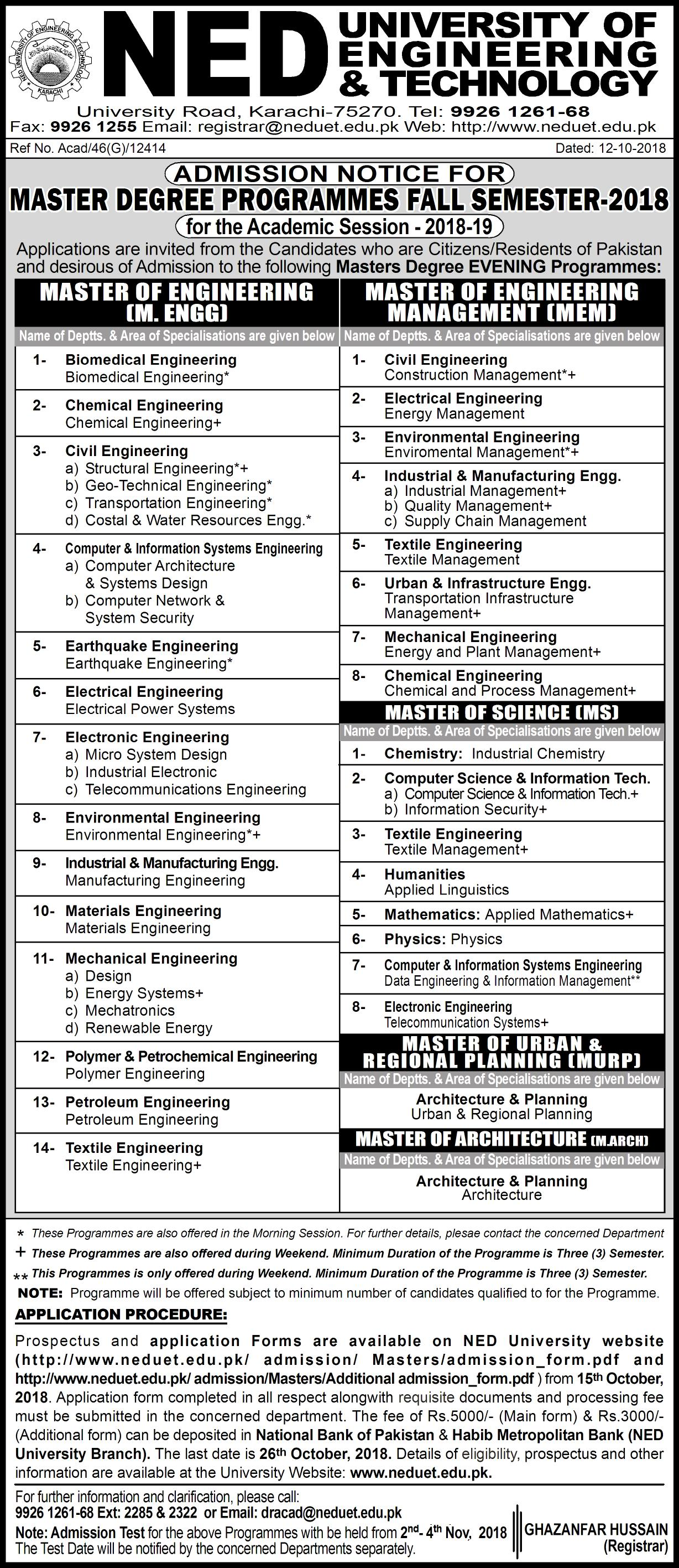 Admission in Masters Degree Programmes Fall Semester 2018-19